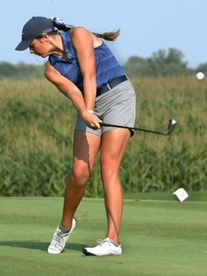 Louisville's Erin Strouse tees off on the 14th hole during Wednesday's match against Northwest at Pleasant View Golf Club.