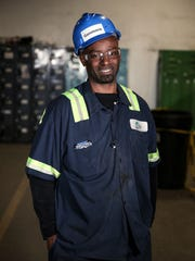 Peer mentor Anthony Gammons, 48, poses for a portrait at Recycle Force in Indianapolis, Wednesday, Feb. 16, 2017. Gammons started at Recycle Force about four months ago.