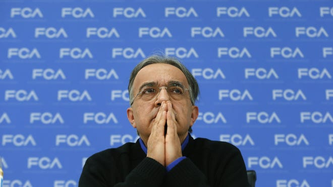FCA CEO Sergio Marchionne speaks at media previews Monday at the North American International Auto Show in Detroit.