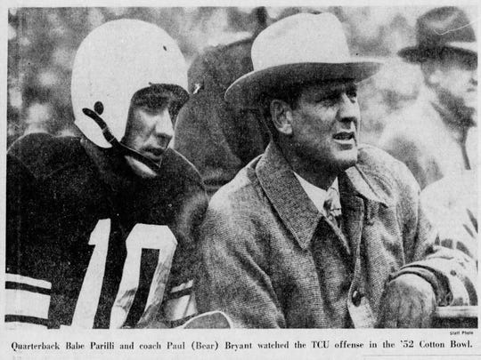 A photo from the Sept. 3, 1975 edition of the Courier-Journal showed former UK quarterback Babe Parilli and coach Bear Bryant watching a 1952 bowl game together.
