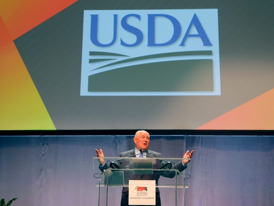 Secretary of Agriculture Sonny Perdue addressed the School Nutrition Association convention at the Georgia World Congress Center Wednesday, July 12, 2017, in Atlanta. The former Georgia governor spoke about his decision to relax requirements spearheaded by the Obama administration.