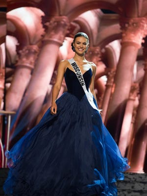 Miss Wisconsin-USA 2016 Katherine Patrice Redeker  competes in the evening gown competition during the  2016 Miss USA preliminary show on June 1 in Las Vegas,  Nevada.