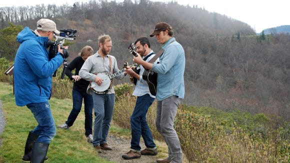 Paul Bonesteel films the Steep Canyon Rangers at Graveyard Fields. The WNC-based band will perform Saturday at the Blue Ridge Music Center on the parkway.