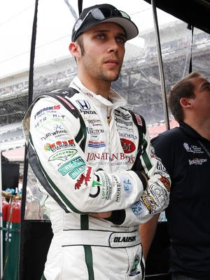 Bryan Clauson watches from his pit box during practice for the Indianapolis 500 at Indianapolis Motor Speedway in May.