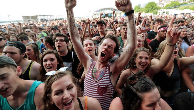 Fans enjoy beautiful weather while listening to Andrew W.K. during Day 3 of the Beale Street Music Festival on Sunday, May 6, 2018. With nice weather and a stellar lineup, music fans flocked to the music festival for a sellout day at Tom Lee Park.