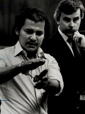Photo of Juan Ramos in court, with Norm Wolfinger in background, March 10, 1983