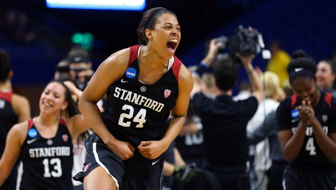 Stanford Cardinal forward Erica McCall (24) celebrates after defeating the Notre Dame Fighting Irish in the finals of the Lexington Regional of the women's 2017 NCAA Tournament at Rupp Arena. Stanford won 76-75.