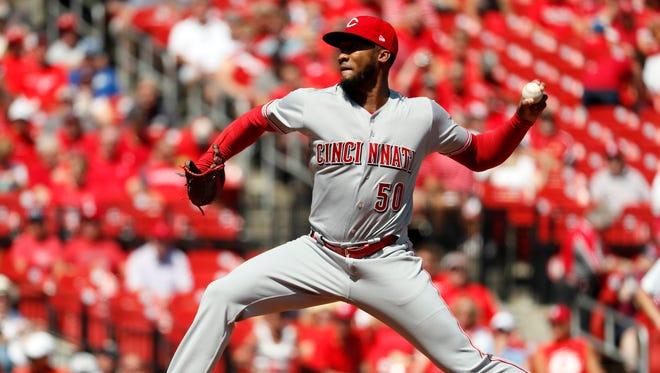Cincinnati Reds starting pitcher Amir Garrett throws during the first inning of a baseball game against the St. Louis Cardinals Thursday, Sept. 14 in St. Louis.