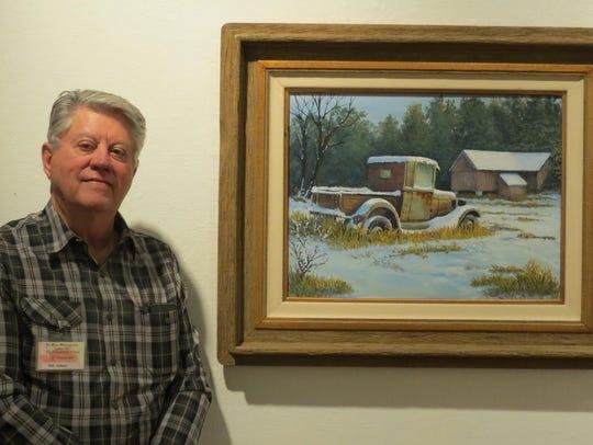 "Bob Adams won the first place acrylic award for ""Snow"