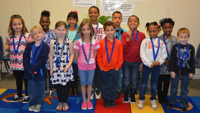 Shown are Whitehall Elementary School Writer' Guild students in K-2, in the front row, are Ryder Coker, Lia Purdy, Skyleigh Smith, Jaden Boyd, Moriah Boseman and Kylen Simmons; and back row are Lily Mize, Nevaeh Brantly, Marie Albert, Braxton Rhone, Najji Lawson-Howard, Jayden Young-Linette and Paris Clemons.