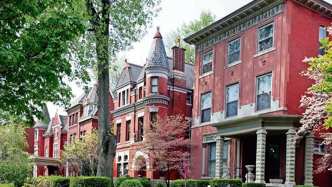 A stretch of Victorian homes on Millionaires Row in Old Louisville.
