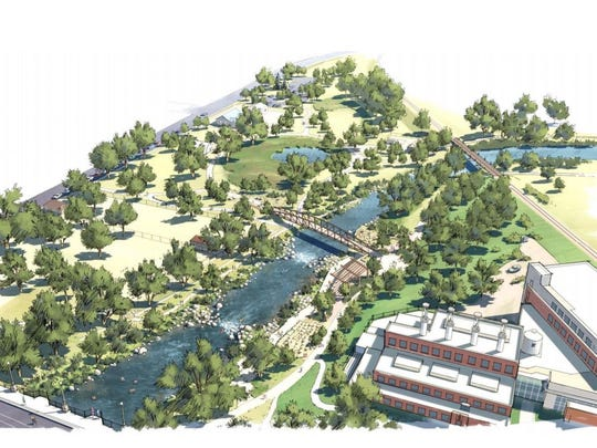 Rendering of the proposed Downtown Whitewater Park the city of Fort Collins would built along the Poudre River east of College Avenue.