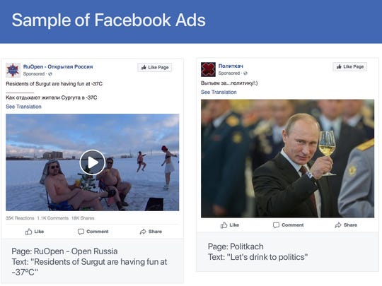 Samples of advertisements posted on Facebook by Russian troll farm, the Internet Research Agency.