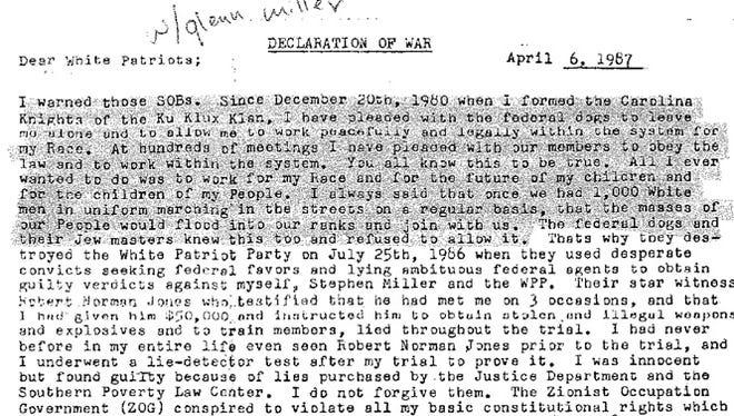 ARCHIVE: April 6, 1987 letter from Frazier Glenn Miller