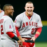 Los Angeles Angels outfielder Mike Trout was named a finalist for the Hank Aaron Award on Monday.