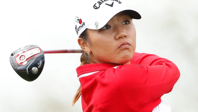 Lydia Ko tees off on the 11th hole during the first round of the JTBC Founders Cup.