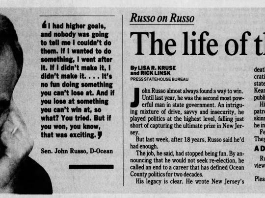 This story originally ran in the Asbury Park Press on April 7, 1991, after John Russo announced he was retiring from the Senate.