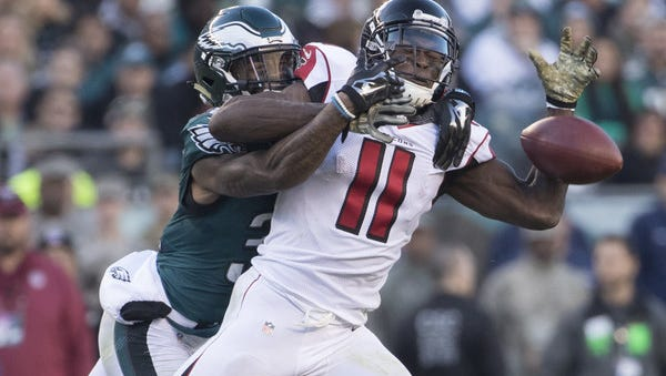 Eagles rookie cornerback Jalen Mills breaks up a pass intended for Atlanta wide receiver Julio Jones last Sunday in the Eagles' 24-15 win.