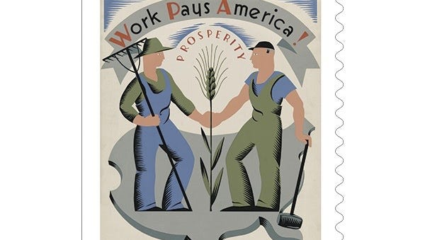 The US Postal Service, celebrates WPA posters, created by Depression-era artist. These poster artists were employed by the Poster Division of the WPA Federal Art Project. This stamp is part of 10 different designs.