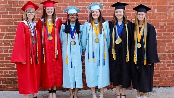 The Class of 2018 WFISD valedictorians and salutatorians include: left to right, Sophia Samas, valedictorian for Wichita Falls High School; Caroline Presson, salutatorian, WFHS; Sankirthana Malireddy, valedictorian, Hirschi High School; Lydia Acuna, salutatorian, Hirschi; Caleigh Studer, valedictorian, Rider High School; and Leah Schrass, salutatorian, Rider.