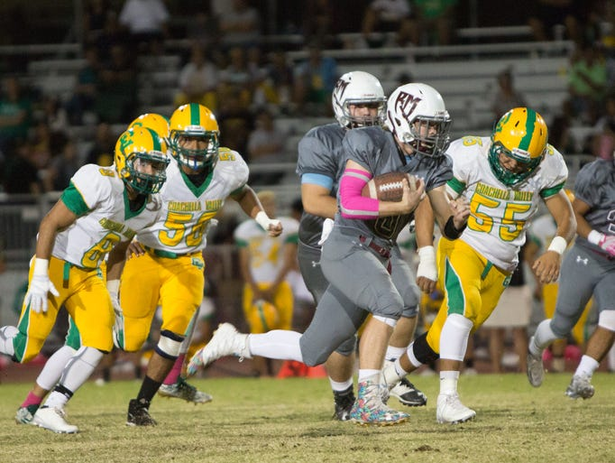 Kyle Whitefield (#8) runs for a first down.