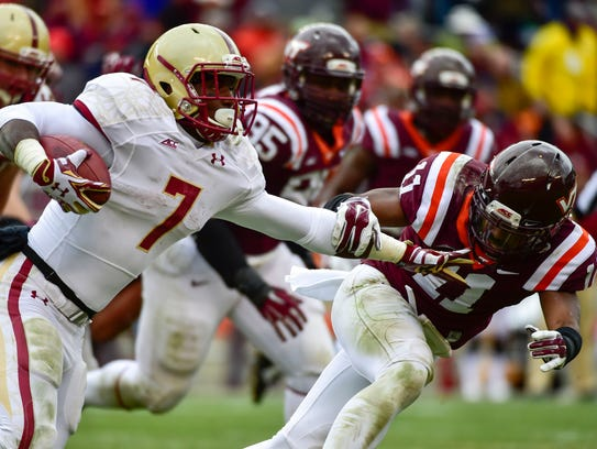Boston College Eagles running back Marcus Outlow (7)