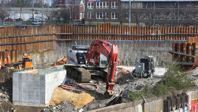 Construction of the controversial Logan St. retention basin. March 28, 2016.