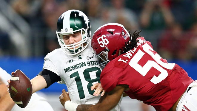 Alabama's Tim Williams sacks Connor Cook in the Cotton Bowl.