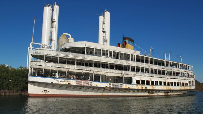 The Boblo boat Ste. Claire sits tied up in Ecorse, Mich., on Oct. 13, 2013. The pilothouse and part of the vessel's stern have been removed.