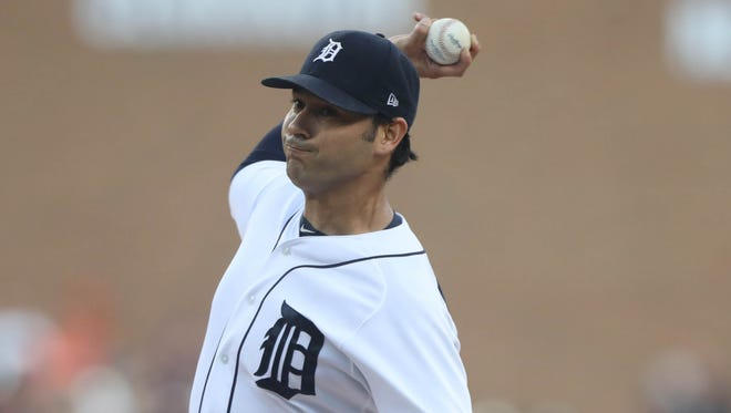 Tigers pitcher Anibal Sanchez throws against the Twins during the first inning of the Tigers' 9-4 loss to the Twins on Friday, Aug. 11, 2017, at Comerica Park.