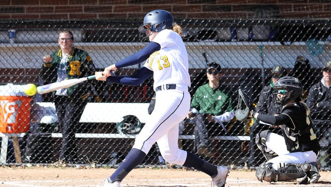 Hartland's Madelin Skene hit two home runs and drove in six runs in a 12-1 victory over Howell in the first game of a softball doubleheader on Thursday, April 19, 2018.
