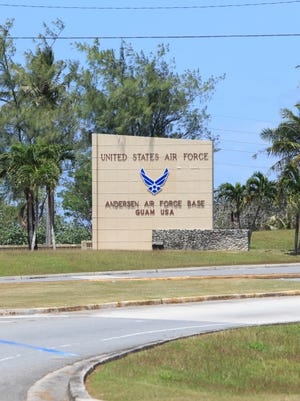 The front gate to Andersen Air Force Base photographed in Yigo on March 25, 2015.