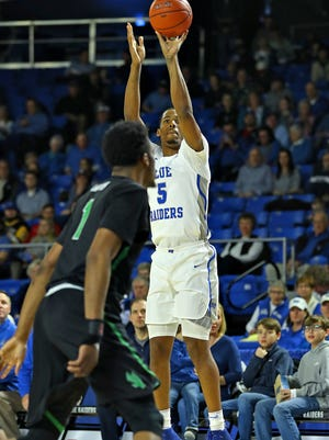 MTSU forward Nick King goes up for a shot against North Texas in their game at Murphy Center on Feb. 10, 2018.