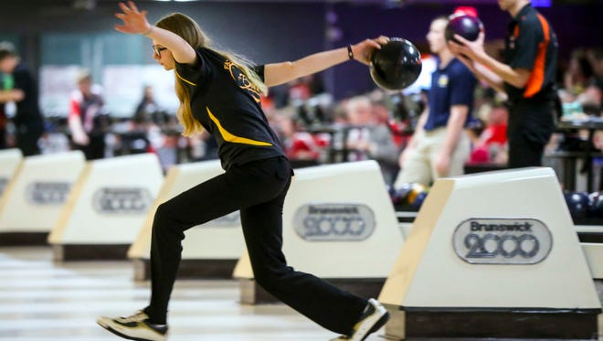 Louisa-Muscatine's Whittney Morse bowls during the 2017 Class 1A Iowa high school state bowling tournament  Monday Feb 20, 2017, at Plaza Lanes  in Des Moines, Iowa.