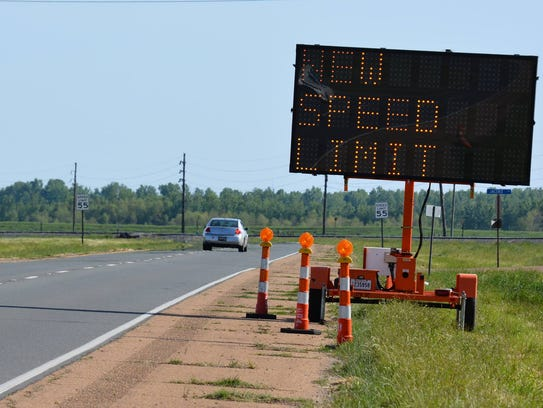 The speed limit has been reduced to 55 miles per hour