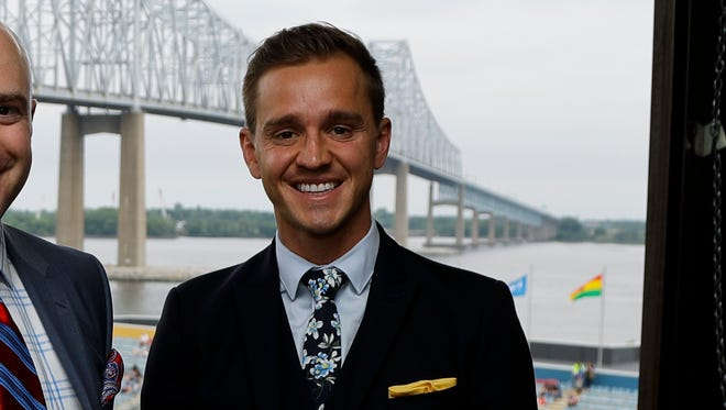 Stuart Holden poses for a photo before a game in Chester, Pa.
