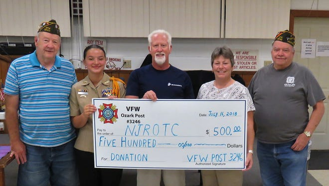 The Ozark VFW Post 3246 recently presented a donation to the Mountain Home Public Schools' Navy JuniorROTC for the cadets. In 1993, the Mountain Home NJROTC was started and the main purpose of the NJROTC is to develop knowledgeable and productive citizens and better students. Pictured are: (from left)Mike Mullin, VFW Post Commander; Alena Tilley,Commanding Officer NJROTC; Bud Zorman, NJROTC Instructor; Monica Wesley,VFW Post Auxiliary President;andDale Larkin,VFW Post Quartermaster.