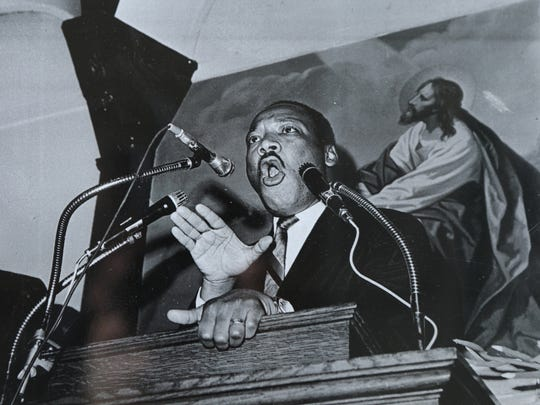 Dr. Martin Luther King Jr. is shown in Paterson, March