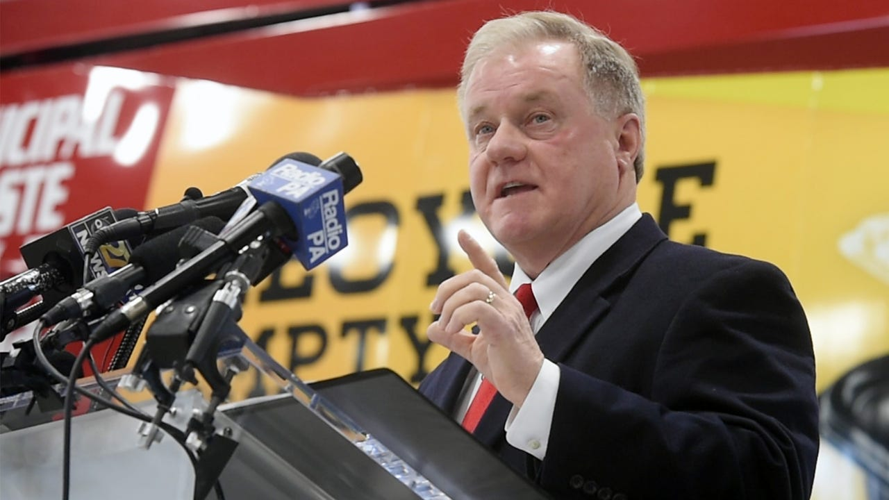 Sen. Scott Wagner kicks off his campaign for governor Wednesday at his York County waste and recycling business, Penn Waste Inc., in East Manchester Township.