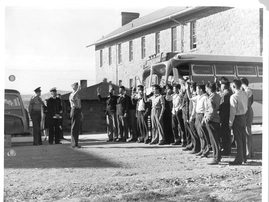 The first 29 Navajo Code Talker recruits being Sworn in at Fort Wingate, N.M., in 1942.