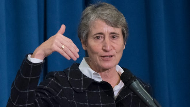 Interior Secretary Sally Jewell speaks at a signing ceremony for a memorandum of agreement to establish the Manhattan Project National Historic Park Nov. 10.