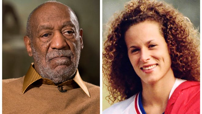 Entertainer Bill Cosby pauses during an interview in Washington on Nov. 6, 2014, and Andrea Constand poses for a photo in Toronto on Aug. 1, 1987.