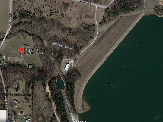 The red dot marks the 4-bedroom house and 10 acres below Fellows Lake Dam that City Utilities intends to buy.