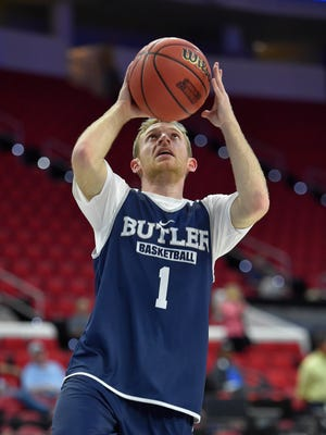 Butler Bulldogs guard Tyler Lewis (1) shoots the ball during a practice day before the first round of the NCAA men's college basketball tournament at PNC Arena.