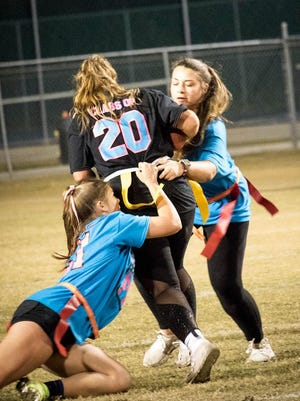 The Effingham County High School girls' powder puff game between the juniors and seniors in January was a popular event. ECHS girls will have a chance to compete against other schools this fall.