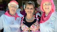 Bebe Gale (left), a resident of the Mirador Retirement Community along with Linda Ayers (middle) and Annise Lindeberg (right) as they prepare for the Cancer Awareness Walk. Gale, who has stayed active in retirement, has voted in every election since 1960.