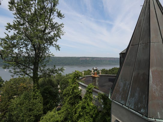 The roof deck view in this castle in north Yonkers,