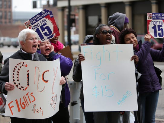 People rallied outside of Cincinnati City Hall on Nov.