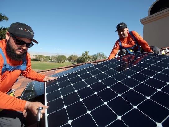 Renova Solar workers Victor Alomar, of Desert Hot Springs,