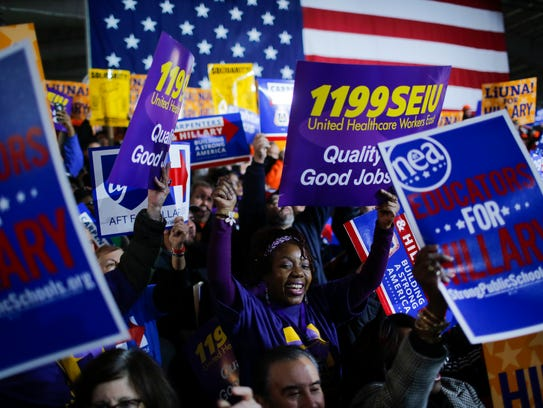Hillary Clinton supporters cheer at a rally in New